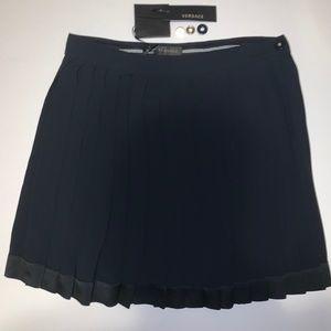 Versace Navy Pleated Skirt